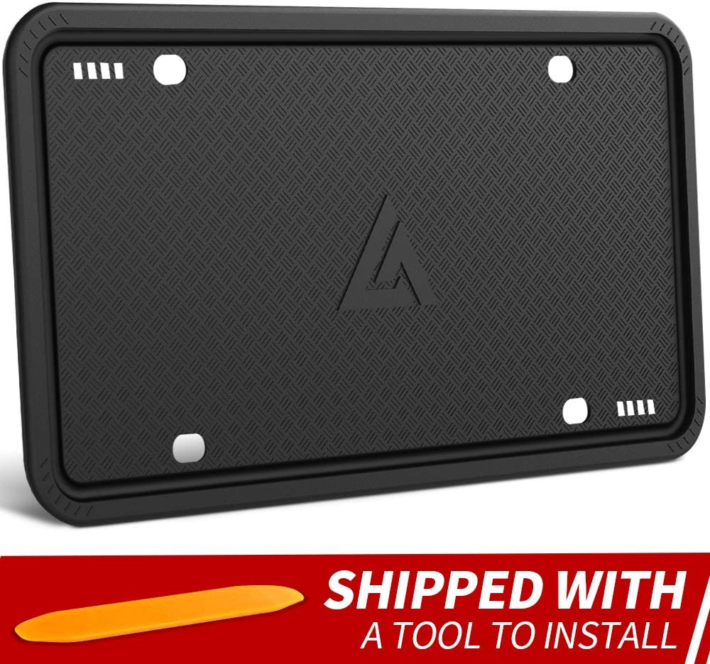 Aujen Silicone License Plate Frame Universal American Auto License Plate Holder, Black License Plate Frame Rust-Proof, Rattle-Proof, Weather-Proof