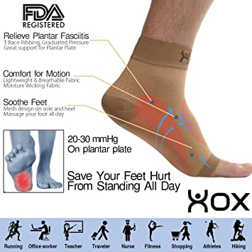 Amazon Com Xox Plantar Fasciitis Compression Foot Sleeves With Arch
