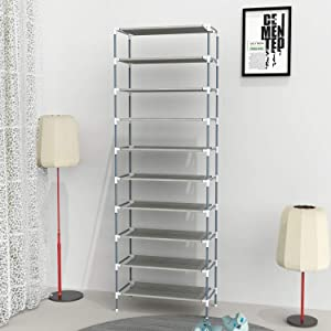 Himimi 10 Tiers Shoe Rack, Non-Woven Fabric Shoe Tower Stand, Easy Assembled Shoe Shelf Organizer Closet for Home, Sturdy Shelf Storage Organizer Cabinet