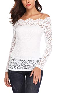 e5990a735ccbc Women s Floral Lace Off Shoulder Tops Twin Set Boat Neck Long Sleeve Casual  Summer Cute Sexy