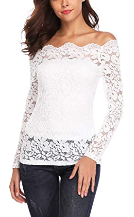 681e8b0c9bd96e Women s Floral Lace Off Shoulder Tops Twin Set Boat Neck Long Sleeve Casual  Summer Cute Sexy Shirt Blouse Tees at Amazon Women s Clothing store