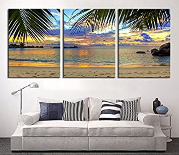 tanda extra large wall art palm and beach canvas print 3 panel large canvas print tropical