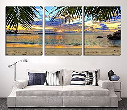 amazon com tanda extra large wall art palm and beach canvas print 3