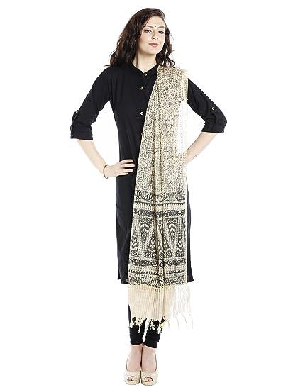 ed572e3cc8f Amazon.com  Dupatta Bazaar Women s Block Printed Ivory   Black ...