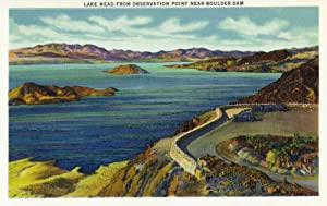 Nevada - Aerial View of Lake Mead from Observation Point near Hoover Dam (16x24 Fine Art Giclee Gallery Print, Home Wall Decor Artwork Poster)