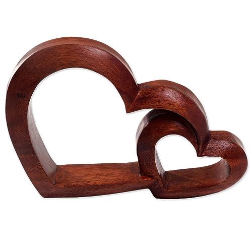 NOVICA Warm Hearts Wood Sculpture, Brown