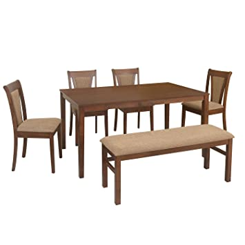 06ed6008d4f home by Nilkamal Jewel 6 Seater Dining Table Set (Walnut)  Amazon.in ...