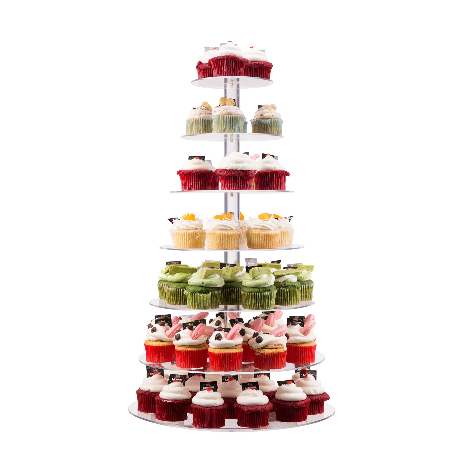 CO-Z 7-Tier Acrylic Round Cupcake Stand Tower fits 80x5cm Cupcakes for Wedding Party 5.9''+7.5''+8.8''+10''+11.8''+13.4''+14,8''