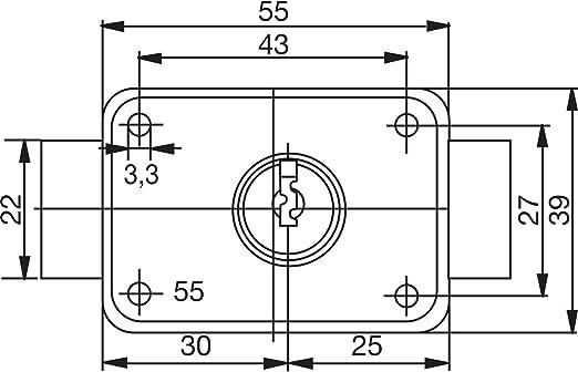Cerradura sobreponer di/ámetro 22mm laton cromo//cromada Burg w/ächter