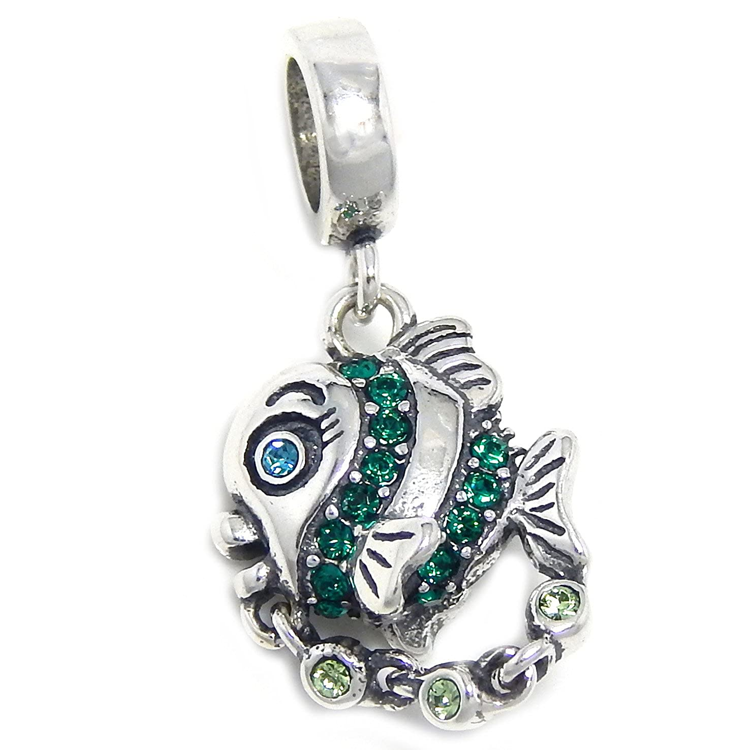 Solid 925 Sterling Silver Dangling Fish w// Green /& Blue CZ Charm Bead 373 for European Snake Chain Bracelets