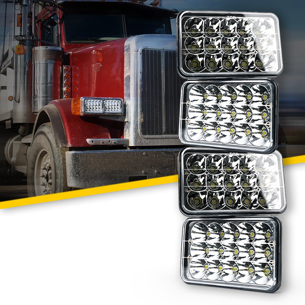 2PCS Dot Approved Xprite Ultra Thin 4X6 LED Headlights Rectangular Replacement Set for H4651 H4652 H4656 H4666 H6545 Peterbil Kenworth Freightinger Ford Probe Chevrolet Oldsmobile