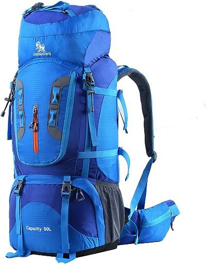 HWJIANFENG Sac à Dos Randonnée 80L Femme Homme pour l'Escalade le Camping  la Randonnée Pédestre Voyage et Alpinisme