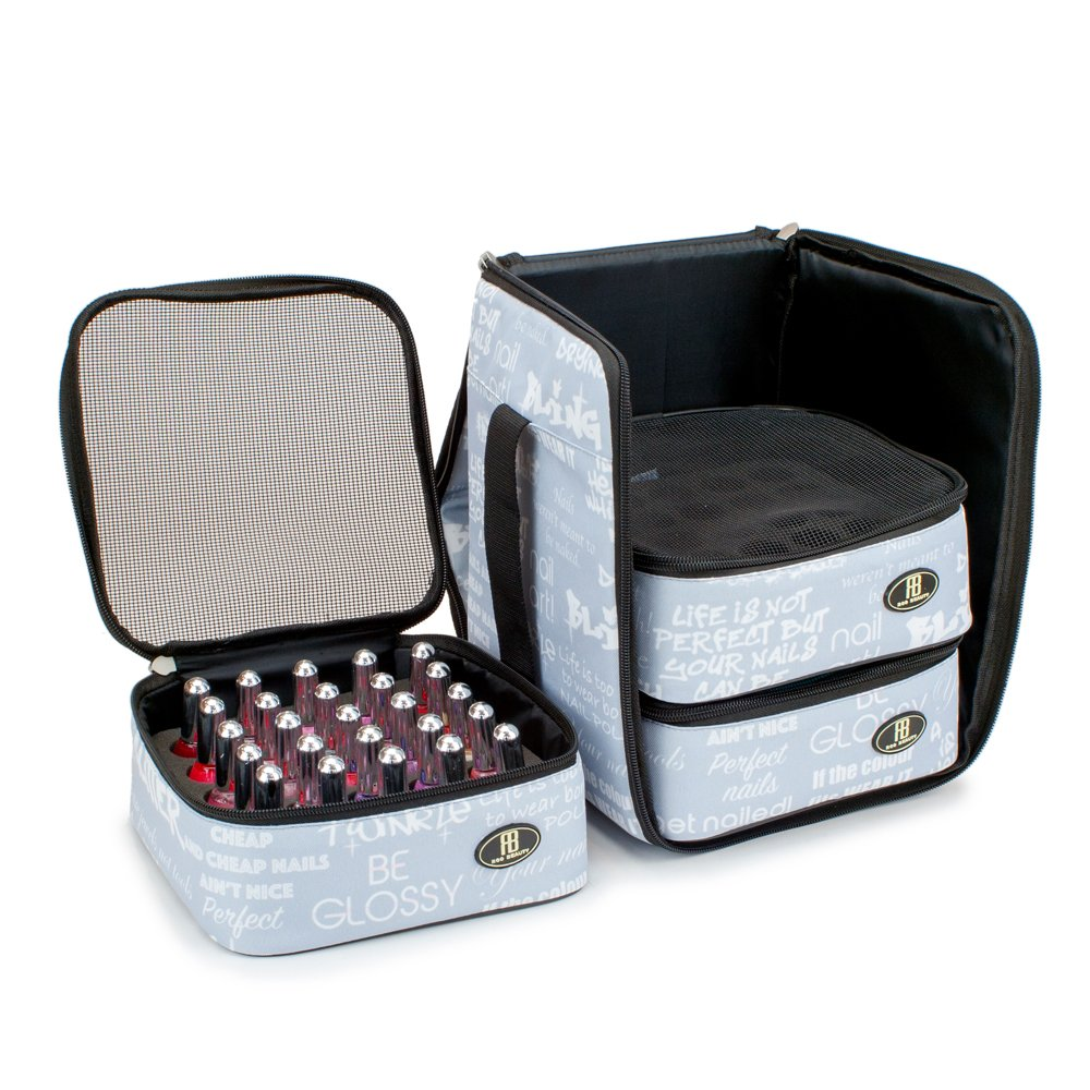 Roo Beauty Nail Polish Varnish Cube, Manicure Storage Bag, Makeup Cosmetic Case in Grey Libretto Roo Beauty Ltd