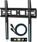 """Cheetah Mounts APFMSB TV Wall Mount Bracket for 20-55"""" TVs Up To VESA 400 and 115 lbs (kg 52) including a Twisted Veins 10' (3m) HDMI Cable and a 6"""" 3-Axis Magnetic Bubble Level"""