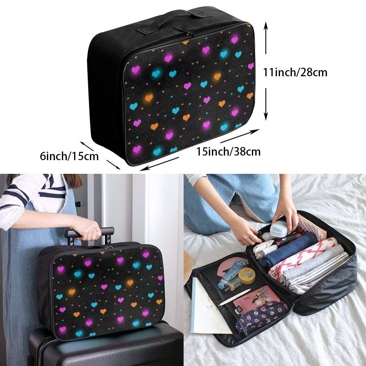 JTRVW Luggage Bags for Travel Foldable Travel Bag Travel Duffle Bag Lightweight Waterproof Travel Luggage Bag Colorful Love Heart Black