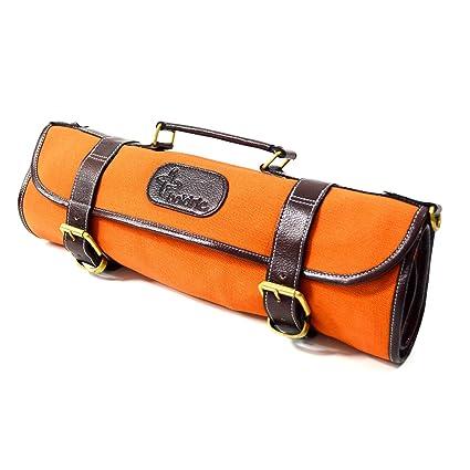 957890512b20 Boldric Orange Canvas Roll 9 Slot Knife Bag