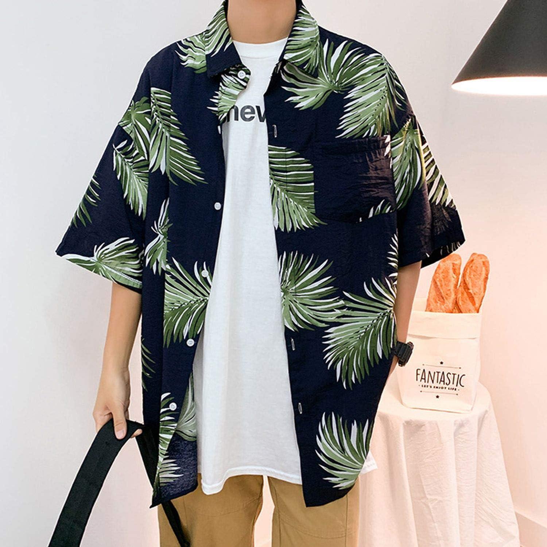 Floral Shirts Men 2019 Korean Fashion Short Sleeve Male Hawaiian Casual Loose Clothes Oversize