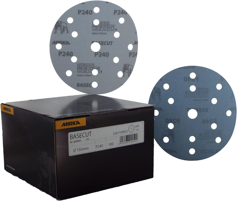 Mirka Basecut gancho /'n /'loop Hookit 150/mm//6/discos de papel de lija/ /Caja 100/6 P180/abrasivos grano Automotive barnizado de papel de lija discos de papel de lija 15/agujero al vac/ío sistema de