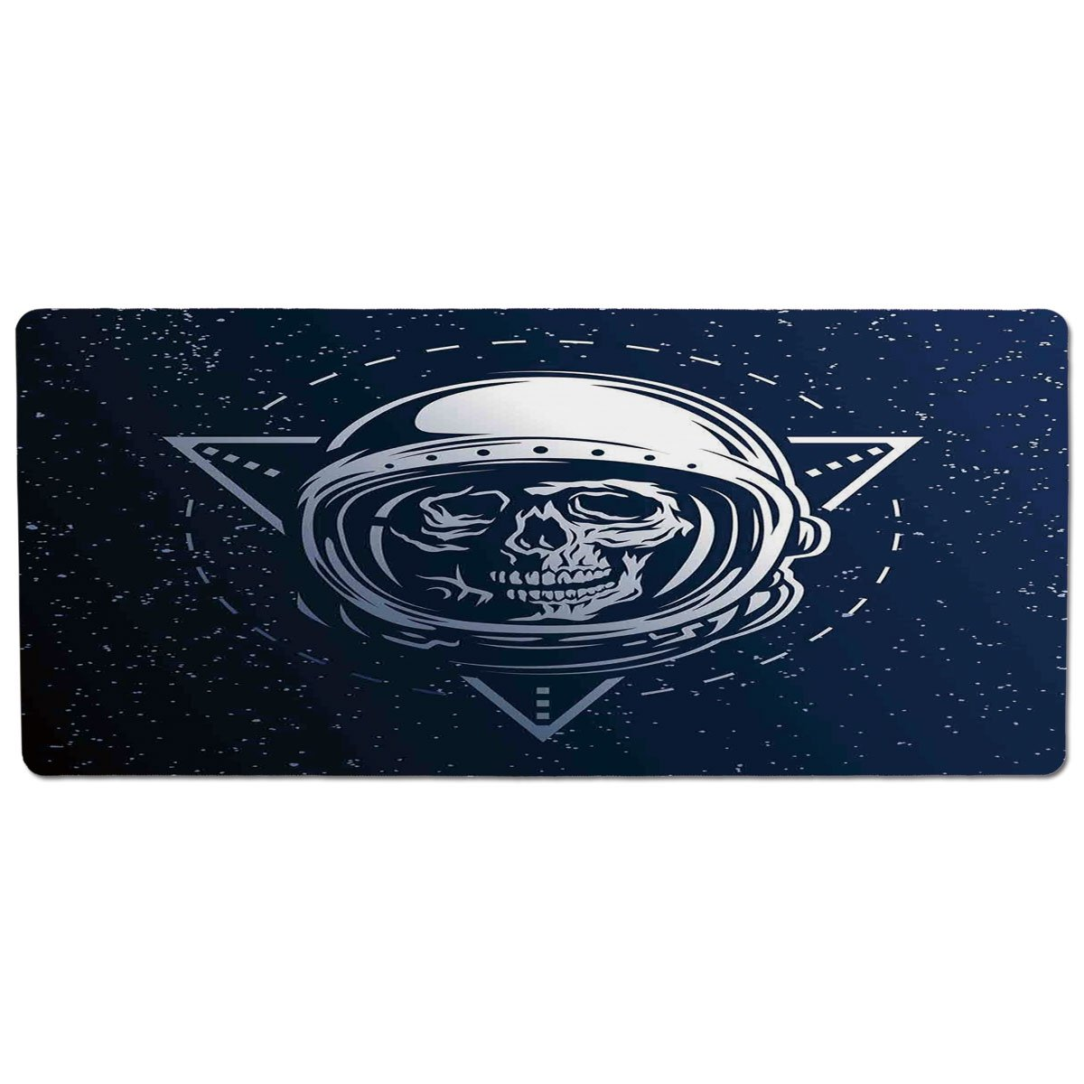 35.4\ iPrint Pet Mat for Food and Water,Outer Space Decor,Dead Skull Head Icon Cosmonaut Helmet Astronomy Terrestrial Horror Image,Grey bluee,Rectangle Non-Slip Rubber Mat for Dogs and Cats
