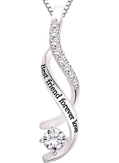 ALOV Jewelry Sterling Silver always my sister forever my friend Cubic Zirconia Bracelet Pfr5RO
