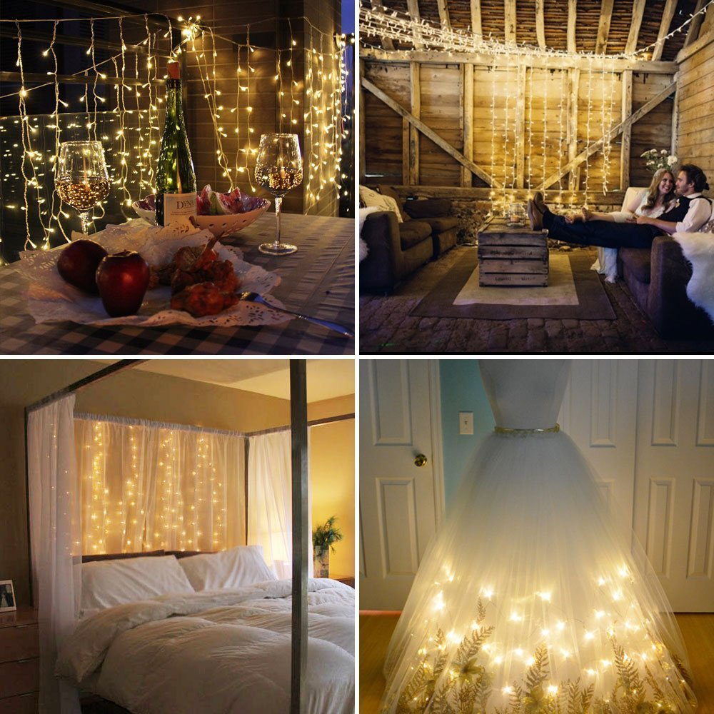 LE LED Window Curtain String Light, 306 LEDs Icicle Light String, 9.8ft x 9.8ft, 8 Modes Setting, Warm White Fairy Light String for Indoor Outdoor Wall Decoration Wedding Party Home Garden