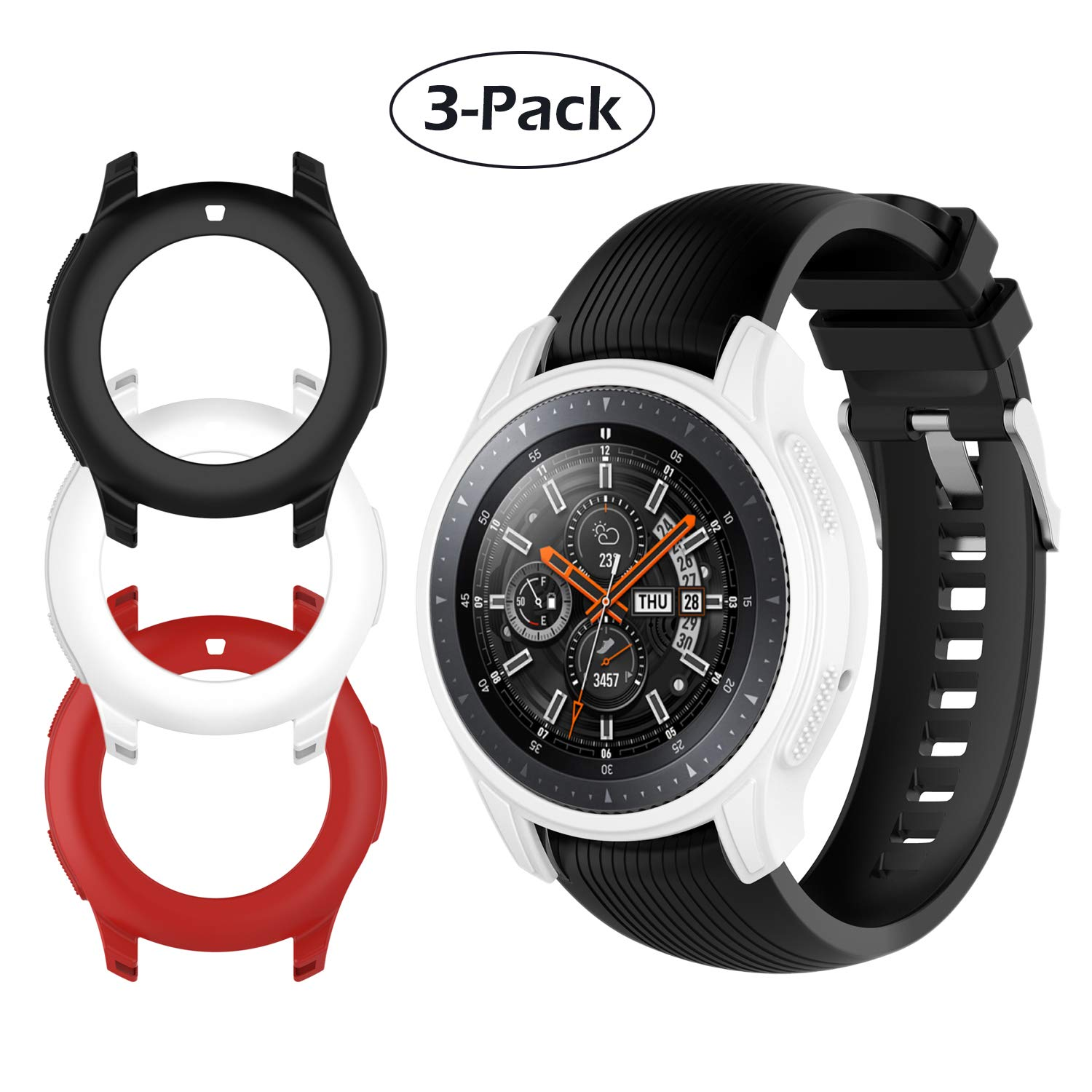 d33ffbf234f54 Case Fit Samsung Galaxy Watch (46mm) /Gear S3 Frontier Protector Case, Soft  TPU Shock-Proof Protective Bumper Sleeve Cover Case for Galaxy Watch (46mm)  ...