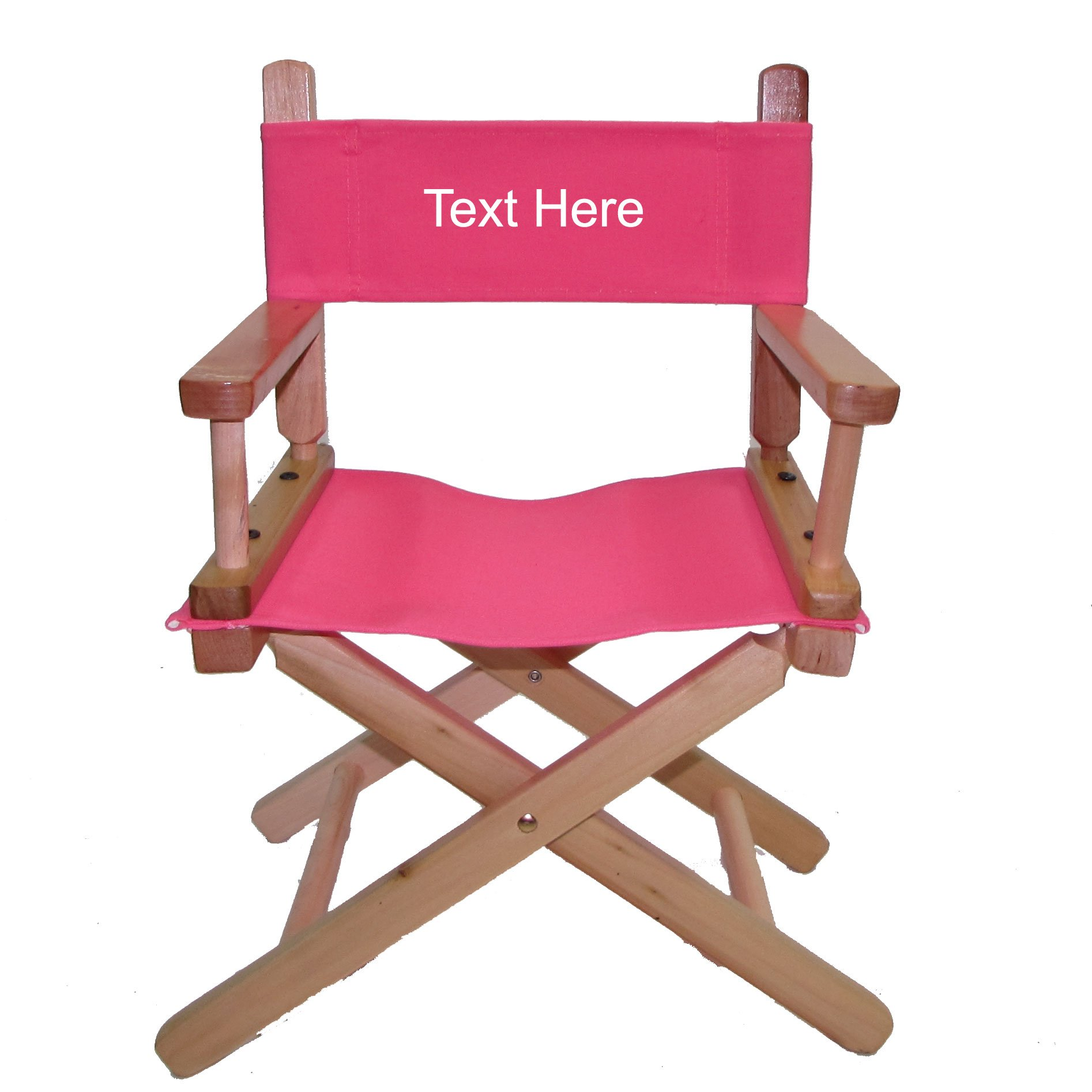 PERSONALIZED EMBROIDERED Natural Frame Toddler's Directors Chair by Gold Medal - Pink Canvas