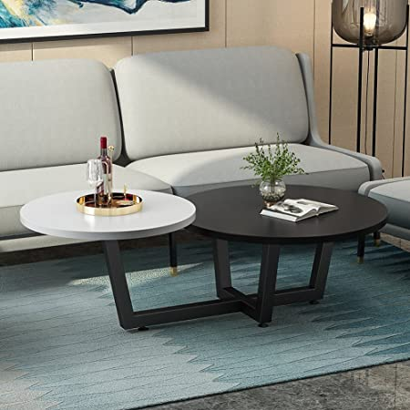 Modern Double Coffee Table, LITTLE TREE 2 Tiered Round Sofa Table U0026 Simple  End Table, For Small Apartment