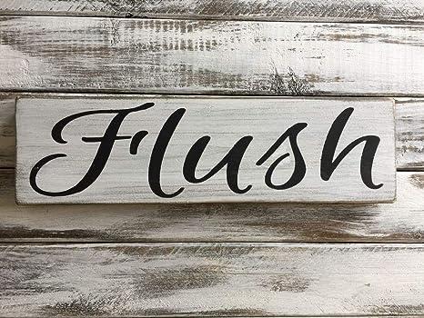 Amazon.com: Letrero de madera rústica para baño, decoración ...