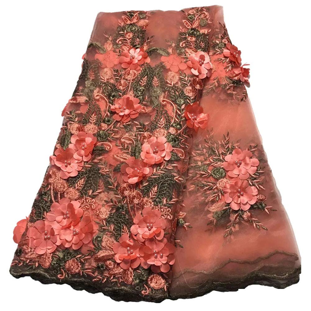 Milylace 5 Yards 3D Floral African Lace Fabric Nigerian Embroidered Mesh Lace Fabric with Beads for Wedding (Peach)