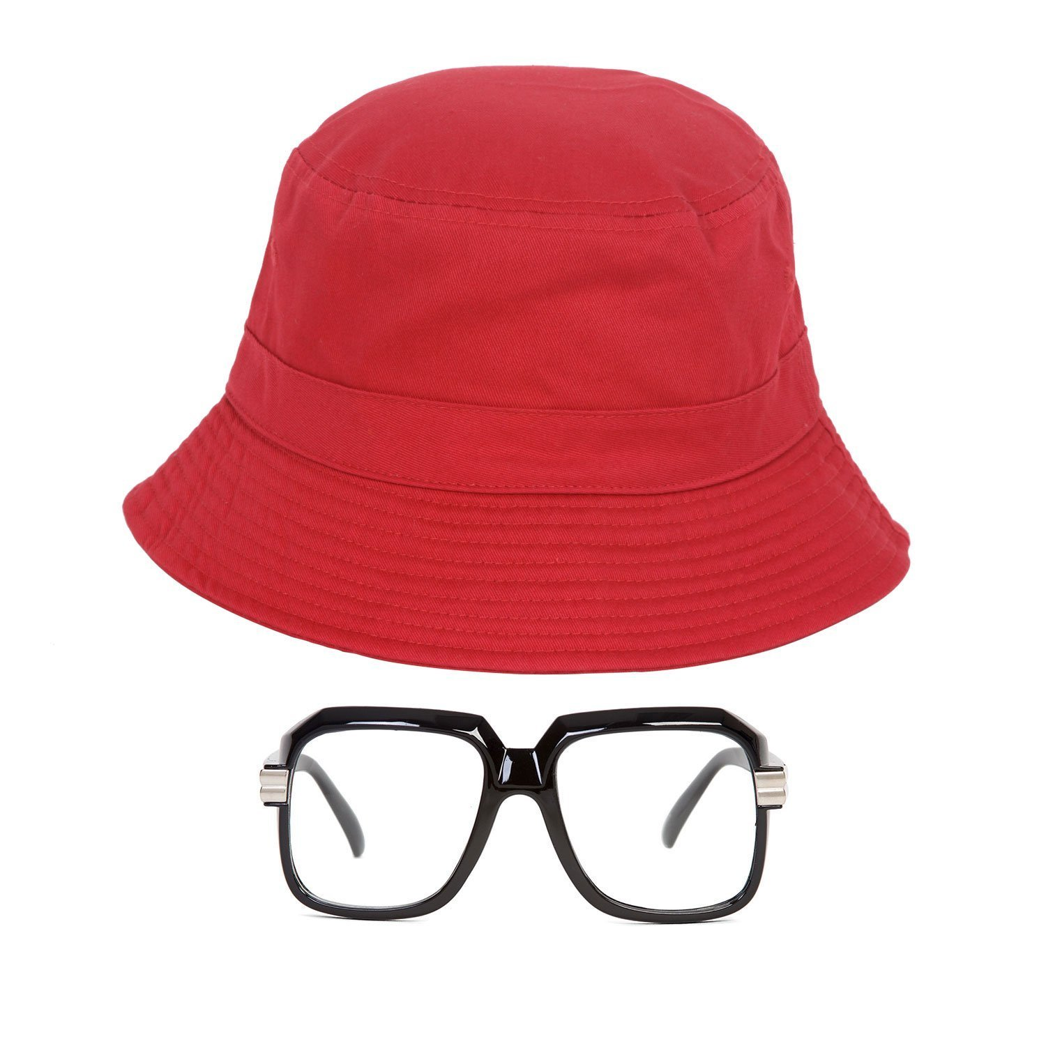 Gravity Trading 80s/90s Hip-Hop Costume Kit (Bucket Hat + Old School Squared Glasses) Red - S/M