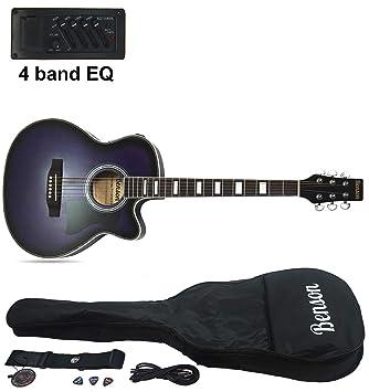 Benson - Guitarra eléctrica semiacústica Matt Satin de tamaño grande y color lila oscuro