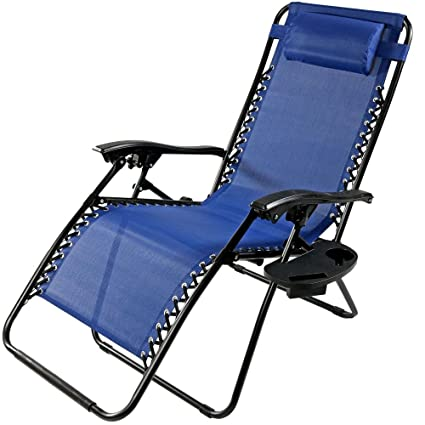 Marvelous Sunnydaze Outdoor Xl Zero Gravity Lounge Chair With Pillow And Cup Holder Folding Patio Lawn Recliner Navy Blue Beatyapartments Chair Design Images Beatyapartmentscom