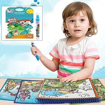 Miyue agua pintura libro, agua Reveal almohadillas, agua para colorear y actividad pintura pintura libros juego con agua Magic Pen: Amazon.es: Juguetes y ...