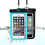 防水ケース iPhone X/8/7/6/Plus 防水 携帯ケース 海 FITFORT® IPX8 完全防水 6インチまで対応 スマホ 水中撮影 風呂 2本入 ネックストラップ付属