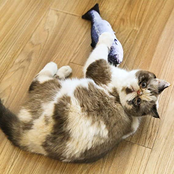 1Piece PETS EMPIRE 26CM Catnip Toys Simulation Plush Fish Shape Doll Interactive Pets Pillow Chew Bite Supplies for Cat//Kitty//Kitten Fish Flop Cat Toy Catnip Crinkle Toys Blue