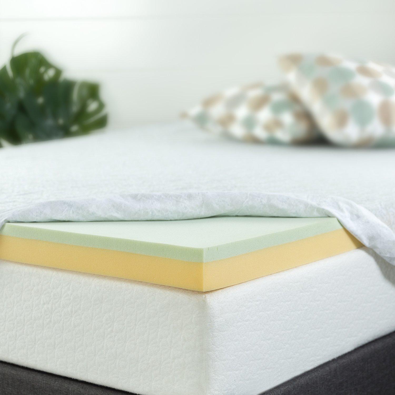 Full Zinus 4 Inch Green Tea Memory Foam Mattress Topper