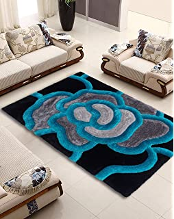 NEW BLACK TEAL BLUE SILVER GREY FLORAL FLOWER DESIGN LUXURIOUS THICK PILE RUG MODERN SOFT SILKY