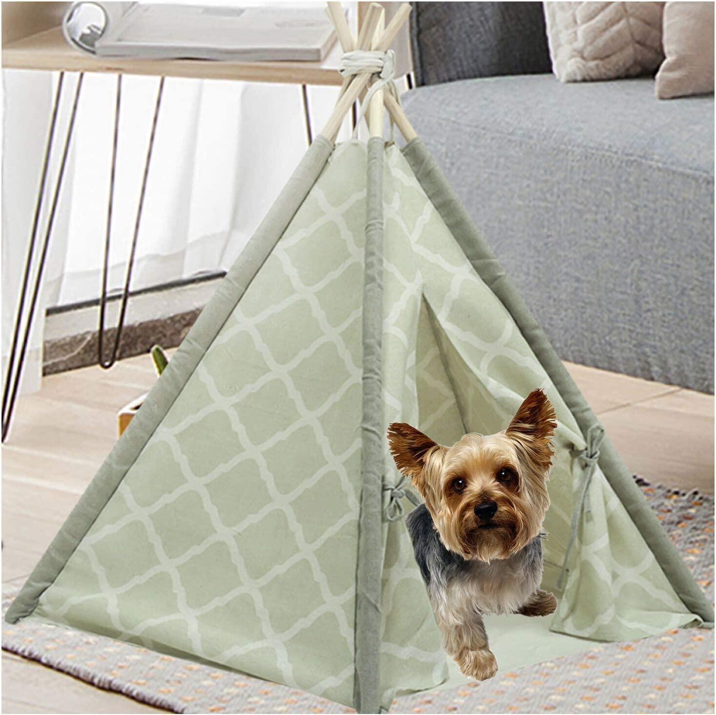 UKadou-Pet-Teepee-for-Dogs-Cats, Portable Pet Tents House, Washable Canvas Pet Teepee Dog Cat Bed with Mat 24in Style