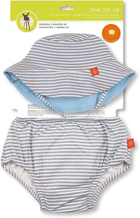 L/ässig Boys 1431010212 Gorro de nataci/ón y pa/ñal para beb/é Azul Azul Oscuro Talla:18 Meses