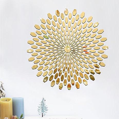 Amazon.com: Ferris Store DIY 225Pcs/Set Gold Round Mirror Effect ...