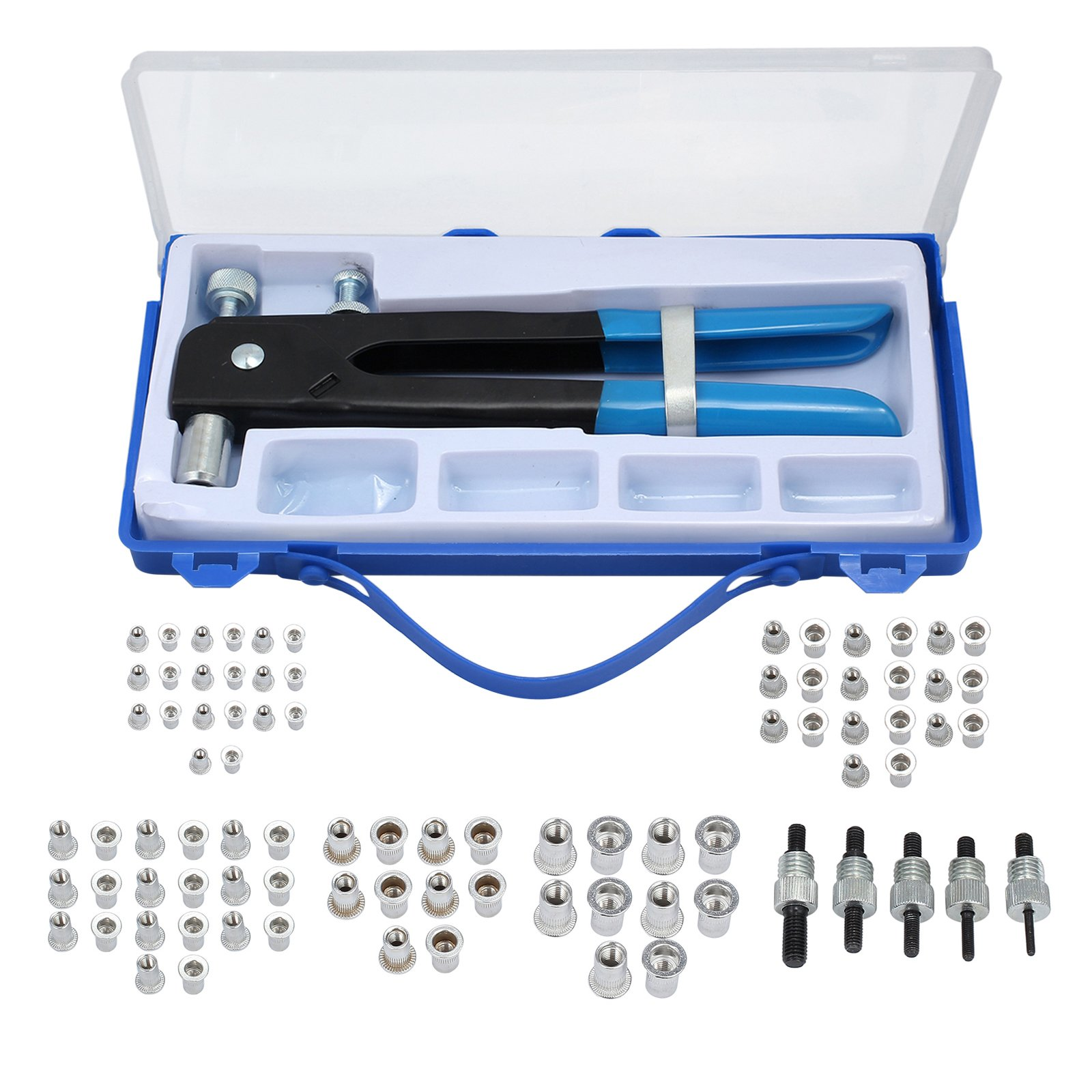 AUTOUTLET 86pcs Steel Hand Rivet Nut Tool Threaded Nut Riveter Gun&Wrench Rivnut Nutsert Kit M3/M4/M5/M6/M8 Aluminum Nuts