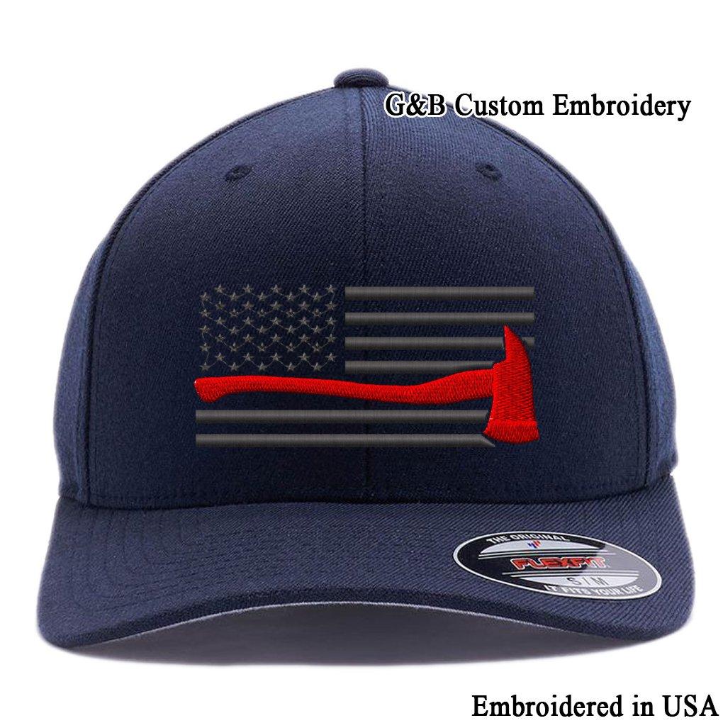 Thin Red Line Axe USA Flag. Embroidered. 6477 Flexfit Wool Blend Cap (L/XL, Dark Navy)