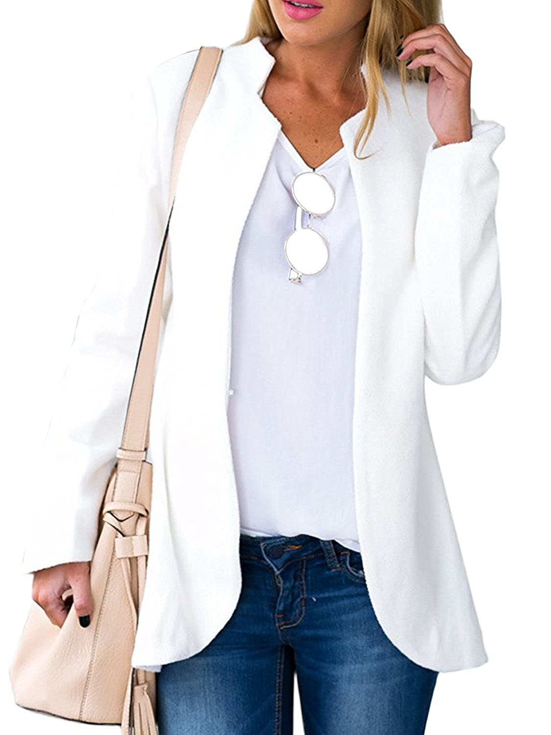 Choies Women's Fashion Casual Long Sleeve Slim Office Blazer With Stand Collar CA0298
