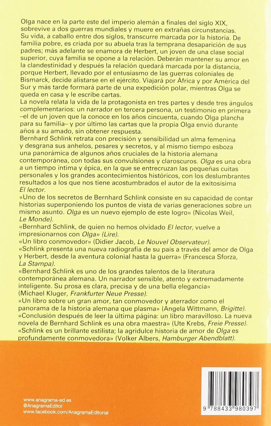 Olga: 1006 (Panorama de narrativas): Amazon.es: Bernhard Schlink, Carles  Andreu: Libros
