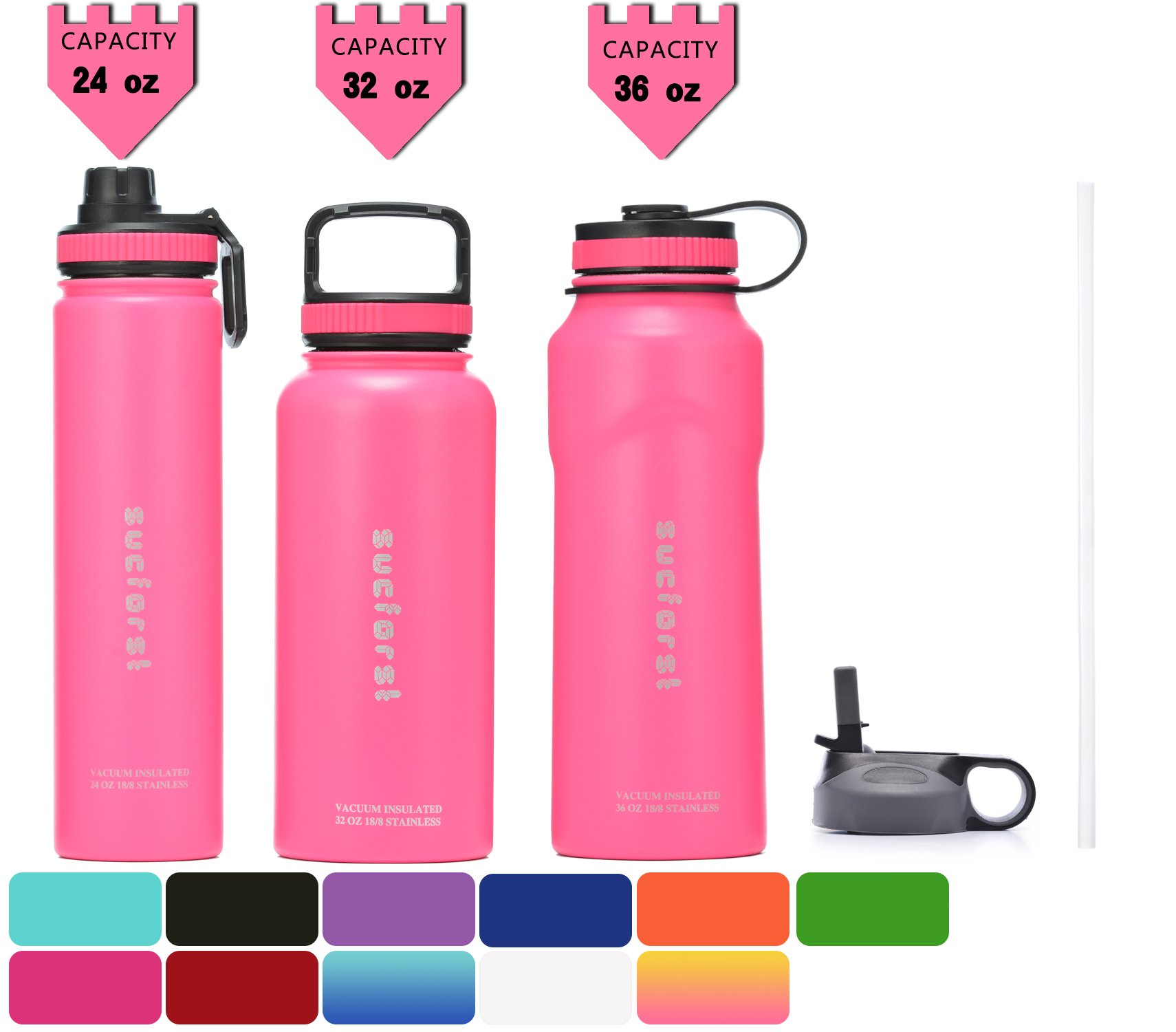 SUCFORST Water Bottle +2 Extra Lids- Vacuum Insulated Stainless Steel Wide Mouth Travel Mug - Powder Coated Double-Walled Flask, 24 oz (Pink) by SUCFORST
