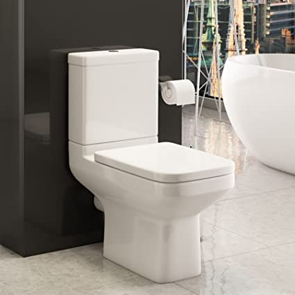 Modern Trim 380 x 800mm Close Coupled Toilet with White Pan