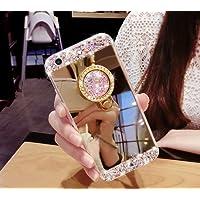 Hancda Hülle für Huawei P20,Schutz Case Handyhülle Glitzer Spiegel Glitter Bling TPU Silikon Schutzhülle Dünn Tasche Hülle Etui Silikonhülle mit Ring Ständer Stand