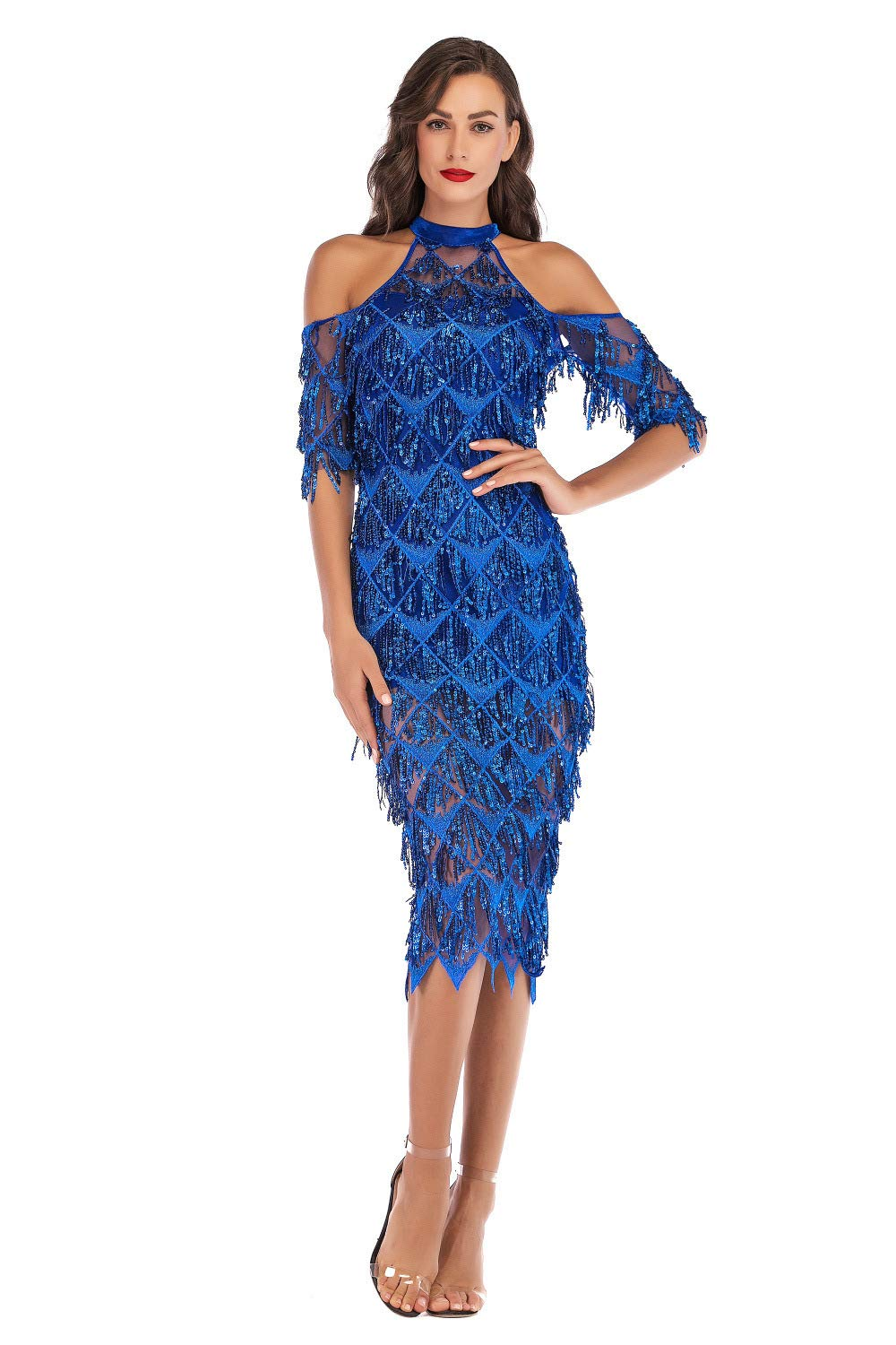 bluee Women's Sexy Strapless Sequined Long Dress Summer Hanging Halter Cocktail Club Party Dress,blueeL