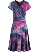 Women's Tie Dye Crossover V Neck Cap Sleeve Fit and Flared Wrap Dress